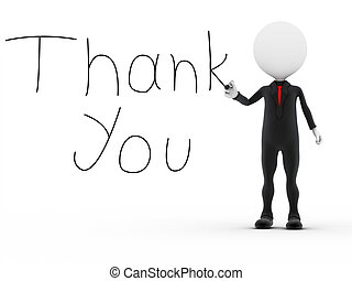 Businessman writting the word thank you