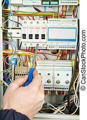 close-up of Electrician work - Close-up of electrician work...