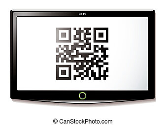 LCD TV QR code scan - Modern LCD TV with Qr code to scan for...