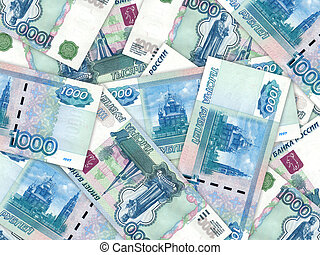 Background of money pile 1000 russian rouble - Abstract...