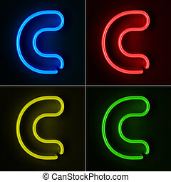 Neon Sign Letter C - Highly detailed neon sign with the...