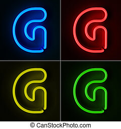 Neon Sign Letter G - Highly detailed neon sign with the...