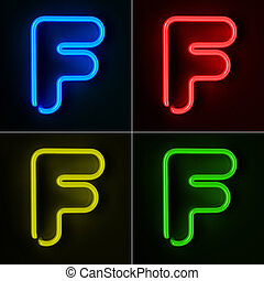 Neon Sign Letter F - Highly detailed neon sign with the...