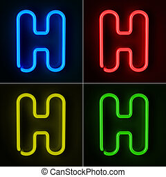 Neon Sign Letter H - Highly detailed neon sign with the...