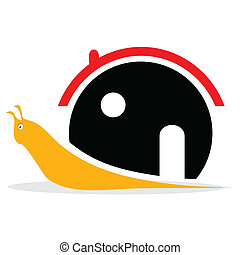 snail with house illustration on white background