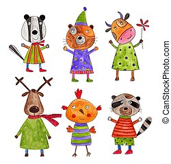 Cartoon characters - Watercolours on paper