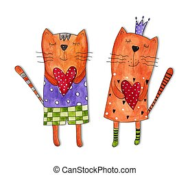 Greeting card for Valentines Day - Watercolours on paper