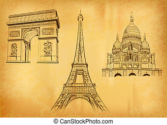 paris symbols on the old paper