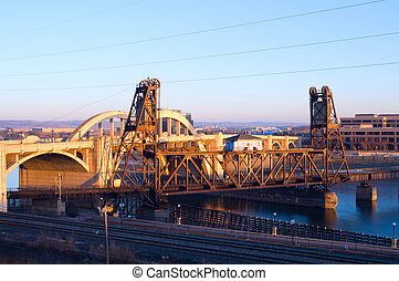 Vertical Lift Bridge and Robert Street in Saint Paul -...