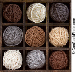 assorted balls of yarn in a box - Assorted balls of natural...