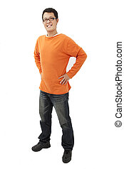 Full length portrait of Asian young man with orange t-shirt