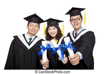 graduação, estudantes, isolado, branca, fundo