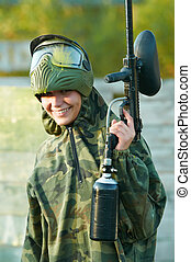 girl paintball player