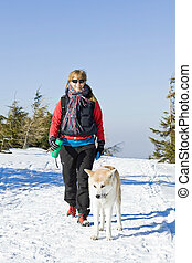 Hiking with dog in winter