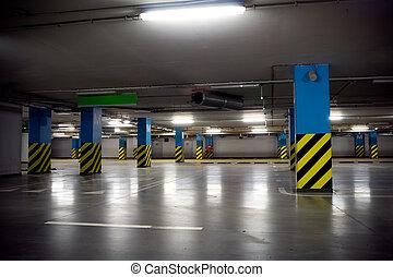 Parking garage of shopping center, underground interior