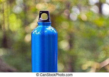água, verde, floresta, garrafa