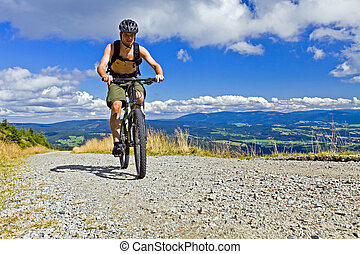 Mountain biker riding a bike - Mountain biking in summer...
