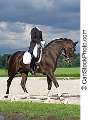 Horse dressage - Woman on horse dressage during stormy...