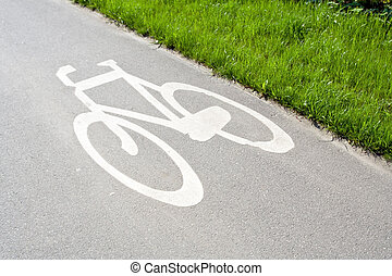 Bike path in city with sign