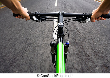Bicycle rider, motion blur