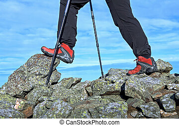 Hiking legs in mountains