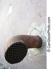 Drain pipe with rusty crate - Rusty waste water drain pipe