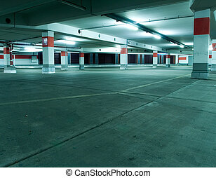 Parking garage, underground interior - Empty underground...