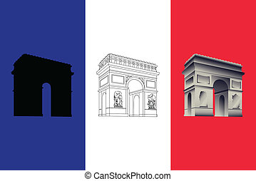 Arc de Triomphe - set of three vectors