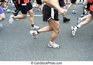 Marathon runner in city