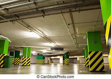 Parking garage, underground shopping center
