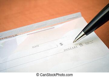 financeiro, conceito, cheque, caneta