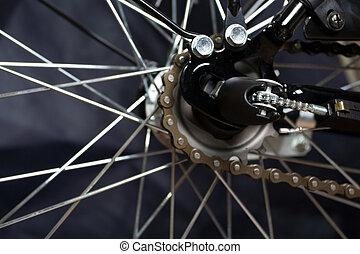 Gear on wheel of modern city bicycle - Gear(hub derailleur)...