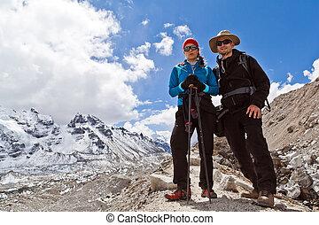 himalaya, montagne, coppia, Camminare