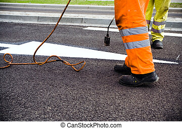 Road construction and painting