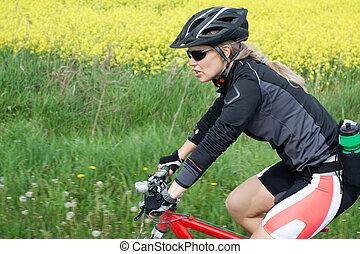 equitación, Montaña, bicicleta, verano