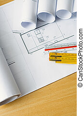 Engineering blueprints and plans
