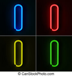 Neon Sign Letter I - Highly detailed neon sign with the...