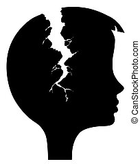 silhouette head with rift on white background - silhouette...