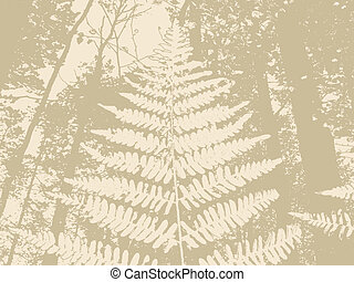 fern silhouette on brown background