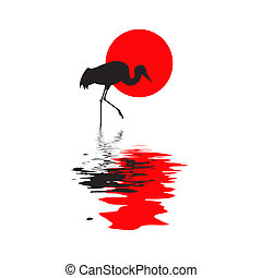 silhouette of the crane on solar background