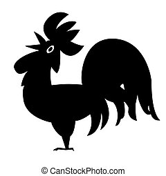 silhouette cock on white background