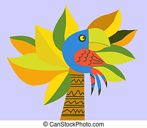 drawing of the parrot on palm - drawing of the parrot on...