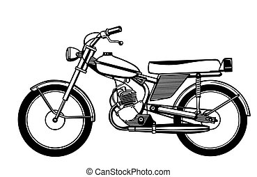 silhouette moped on white background - silhouette moped on...