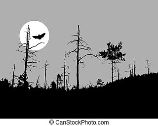 silhouette bat on moon background