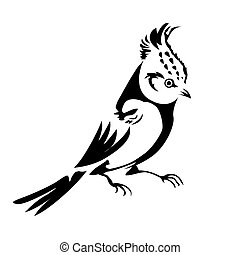 silhouette of the small bird on white background