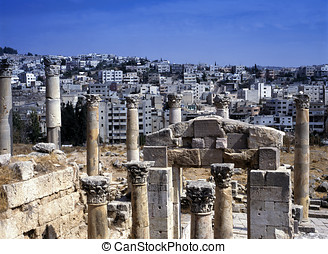 View at the modern city of Jerash, Jordan