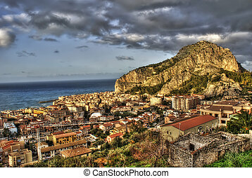View of the Cefalù in the hdr - View of the Cefalù with sea...