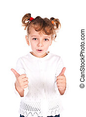 girl giving thumbs up - little girl giving thumbs up