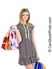 Girl with bags after shopping portrait