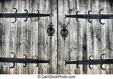 antigas, madeira, portões